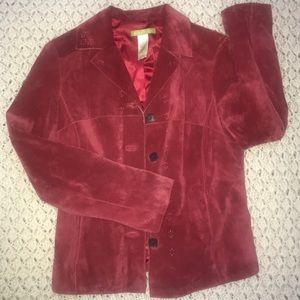 Red suede blazer